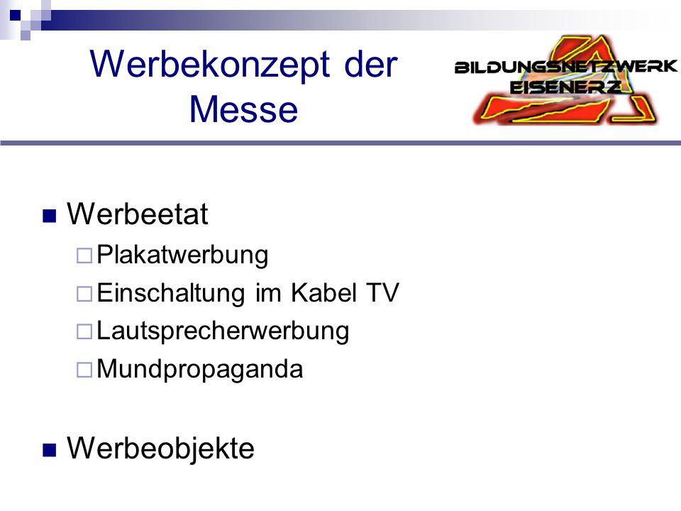 Werbekonzept der Messe Werbeetat  Plakatwerbung  Einschaltung im Kabel TV  Lautsprecherwerbung  Mundpropaganda Werbeobjekte