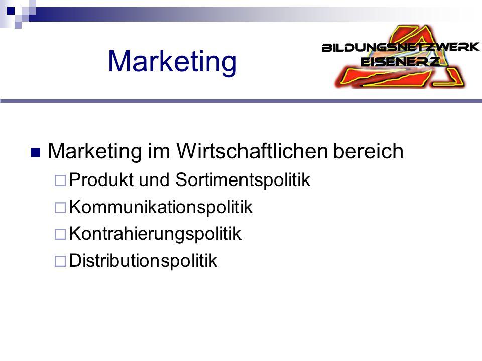 Marketing Marketing im Wirtschaftlichen bereich  Produkt und Sortimentspolitik  Kommunikationspolitik  Kontrahierungspolitik  Distributionspolitik