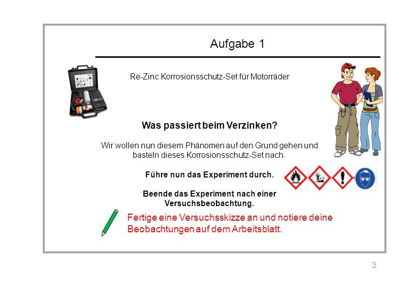 Aufgabe 1 Re-Zinc Korrosionsschutz-Set für Motorräder Was passiert beim Verzinken? Wir wollen nun diesem Phänomen auf den Grund gehen und basteln dies