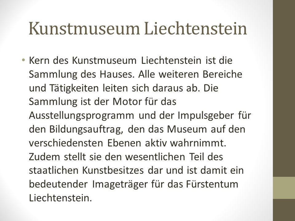 Kunstmuseum Liechtenstein Im Zentrum von Vaduz bildet das Kunstmuseum Liechtenstein einen architektonischen Fokus. Die Fassade, ein eingefärbter und f