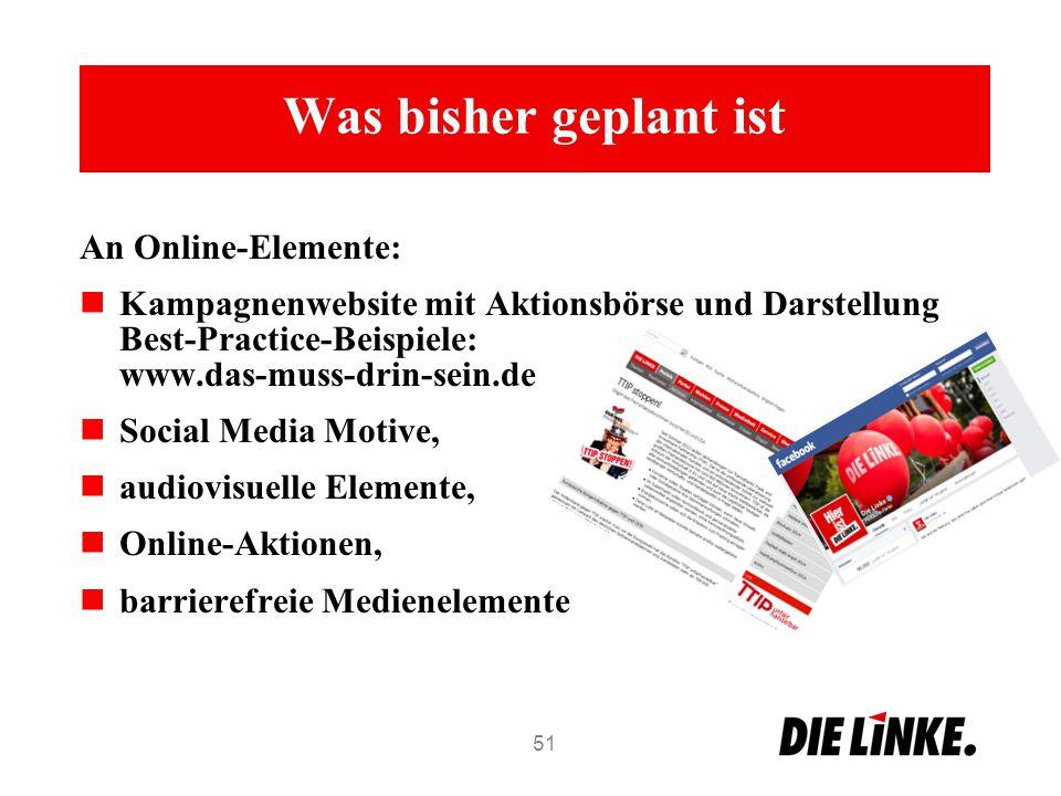 Was bisher geplant ist An Online-Elemente: Kampagnenwebsite mit Aktionsbörse und Darstellung Best-Practice-Beispiele: www.das-muss-drin-sein.de Social