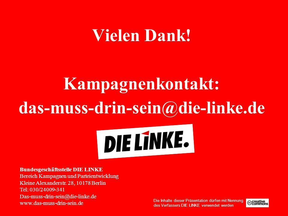 Vielen Dank! Kampagnenkontakt: das-muss-drin-sein@die-linke.de Bundesgeschäftsstelle DIE LINKE Bereich Kampagnen und Parteientwicklung Kleine Alexande