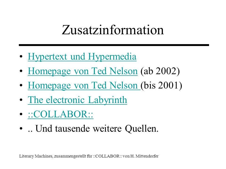 Literary Machines, zusammengestellt für ::COLLABOR:: von H.