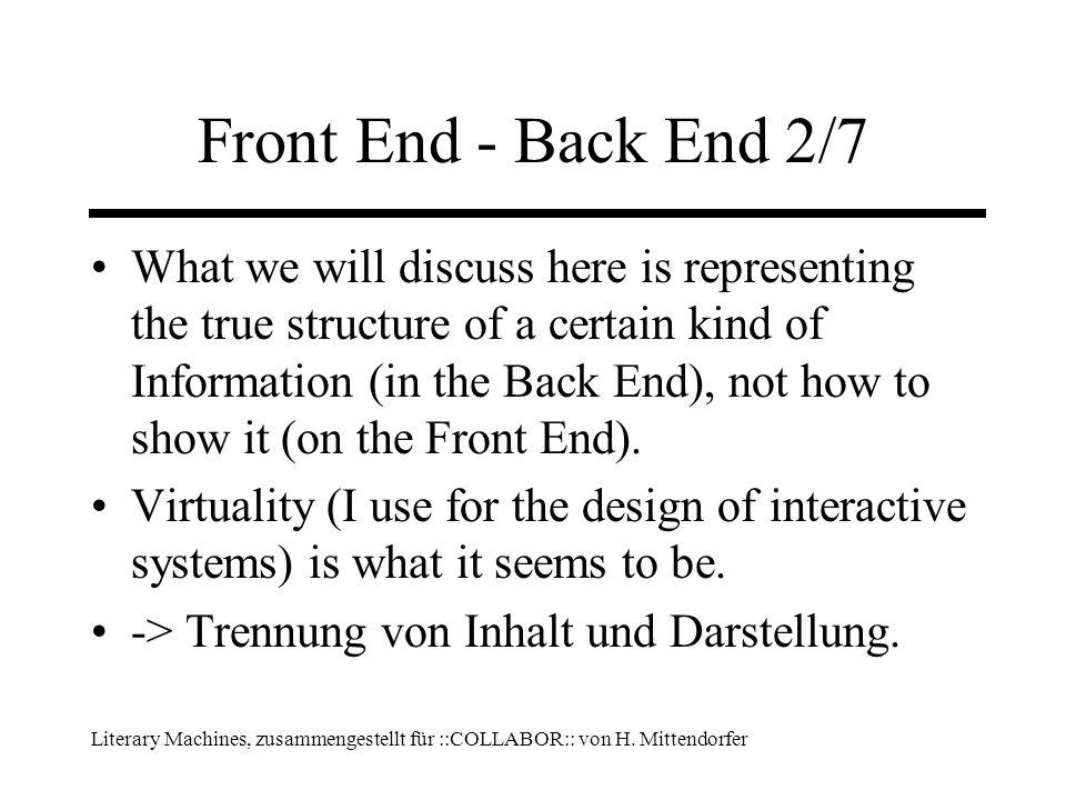 Literary Machines, zusammengestellt für ::COLLABOR:: von H. Mittendorfer Front End - Back End 2/7