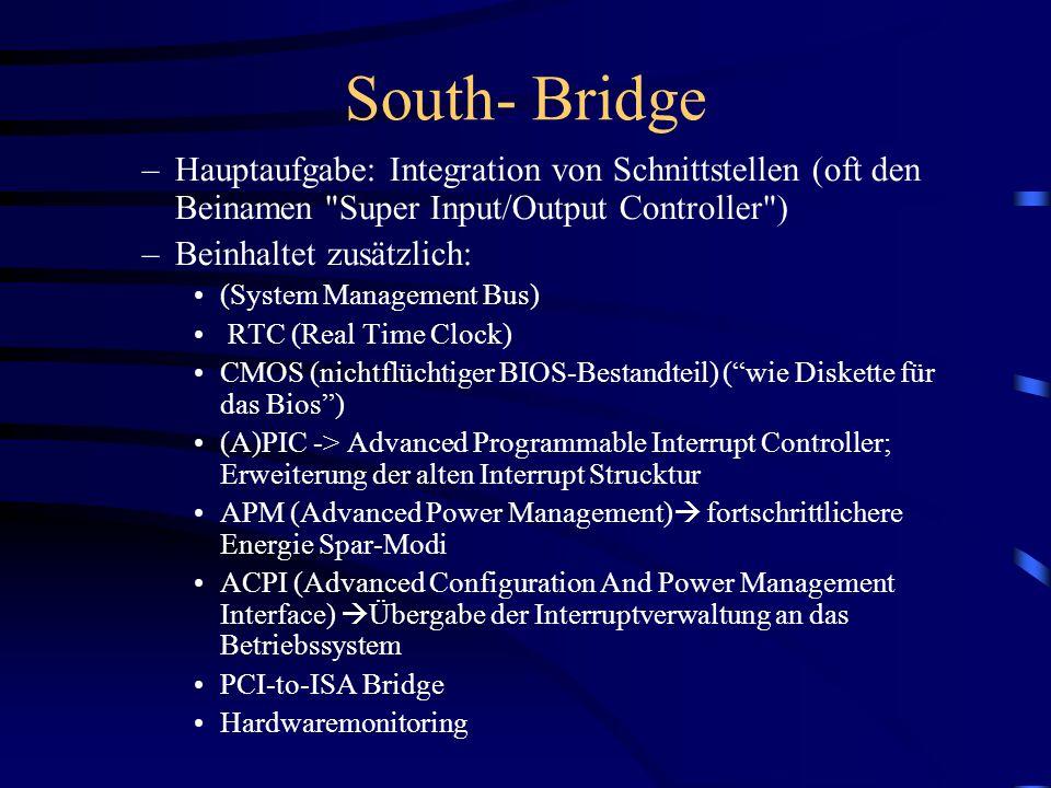 North- Bridge –Hauptaufgabe: Anbindung der CPU an das System –Ebenfalls integriert: AGP-Bus, RAM und der PCI-Arbiter (PCI-