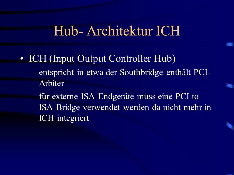 Hub- Architektur MCH MCH (Memory Controller Hub)  entspricht der ehemaligen Northbrige mit 1 wichtigen Veränderungen PCI Arbiter in ICH  Datentranfe