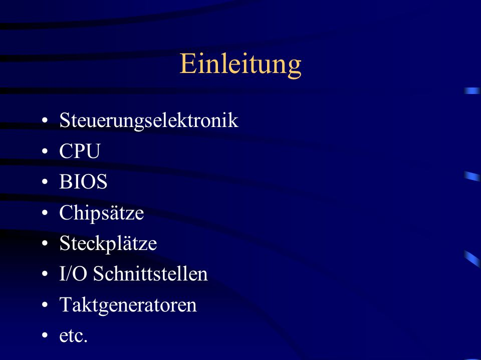 South- Bridge –Hauptaufgabe: Integration von Schnittstellen (oft den Beinamen Super Input/Output Controller ) –Beinhaltet zusätzlich: (System Management Bus) RTC (Real Time Clock) CMOS (nichtflüchtiger BIOS-Bestandteil) ( wie Diskette für das Bios ) (A)PIC -> Advanced Programmable Interrupt Controller; Erweiterung der alten Interrupt Strucktur APM (Advanced Power Management)  fortschrittlichere Energie Spar-Modi ACPI (Advanced Configuration And Power Management Interface)  Übergabe der Interruptverwaltung an das Betriebssystem PCI-to-ISA Bridge Hardwaremonitoring