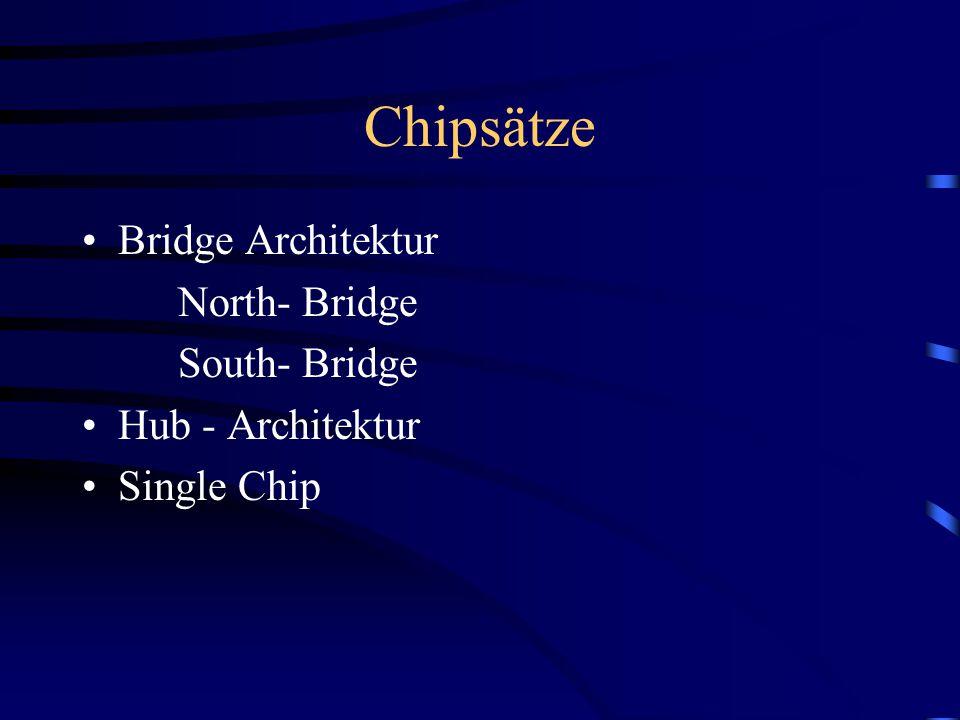 Chipsätze Bridge Architektur North- Bridge South- Bridge Hub - Architektur Single Chip