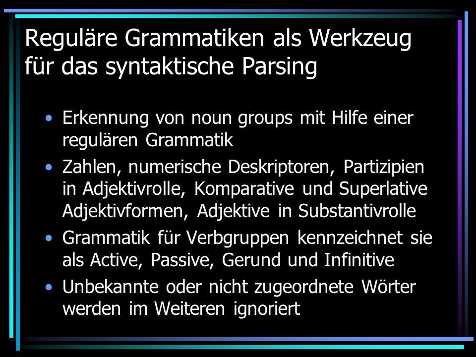 Reguläre Grammatiken als Werkzeug für das syntaktische Parsing Erkennung von noun groups mit Hilfe einer regulären Grammatik Zahlen, numerische Deskriptoren, Partizipien in Adjektivrolle, Komparative und Superlative Adjektivformen, Adjektive in Substantivrolle Grammatik für Verbgruppen kennzeichnet sie als Active, Passive, Gerund und Infinitive Unbekannte oder nicht zugeordnete Wörter werden im Weiteren ignoriert