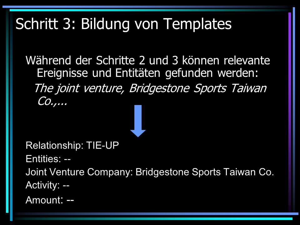 Schritt 3: Bildung von Templates Während der Schritte 2 und 3 können relevante Ereignisse und Entitäten gefunden werden: The joint venture, Bridgestone Sports Taiwan Co.,...