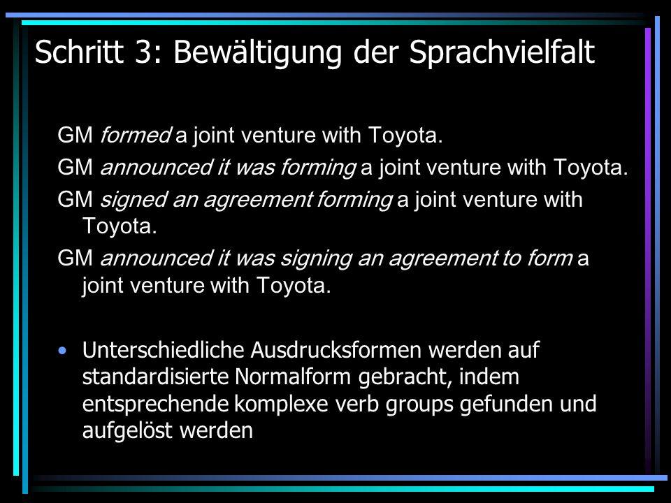 Schritt 3: Bewältigung der Sprachvielfalt GM formed a joint venture with Toyota.