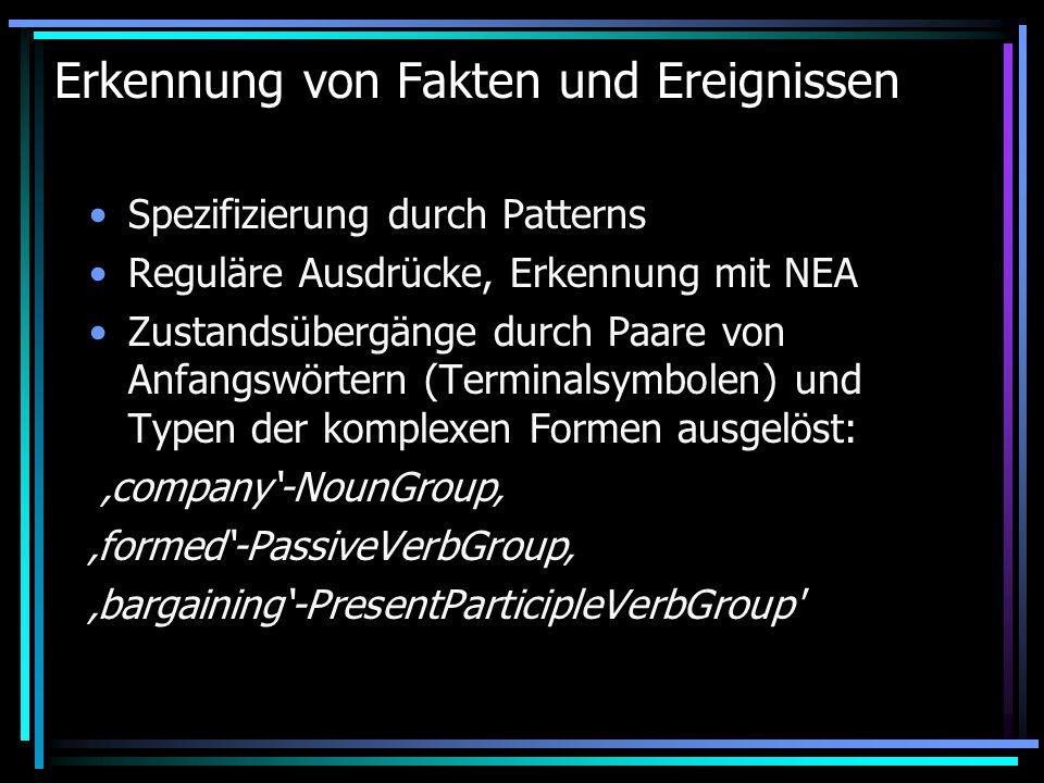 Erkennung von Fakten und Ereignissen Spezifizierung durch Patterns Reguläre Ausdrücke, Erkennung mit NEA Zustandsübergänge durch Paare von Anfangswörtern (Terminalsymbolen) und Typen der komplexen Formen ausgelöst: 'company'-NounGroup' 'formed'-PassiveVerbGroup' 'bargaining'-PresentParticipleVerbGroup