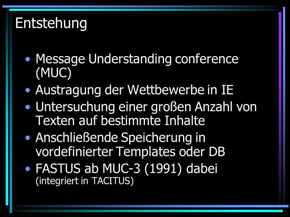 Entstehung Message Understanding conference (MUC) Austragung der Wettbewerbe in IE Untersuchung einer großen Anzahl von Texten auf bestimmte Inhalte Anschließende Speicherung in vordefinierter Templates oder DB FASTUS ab MUC-3 (1991) dabei (integriert in TACITUS)