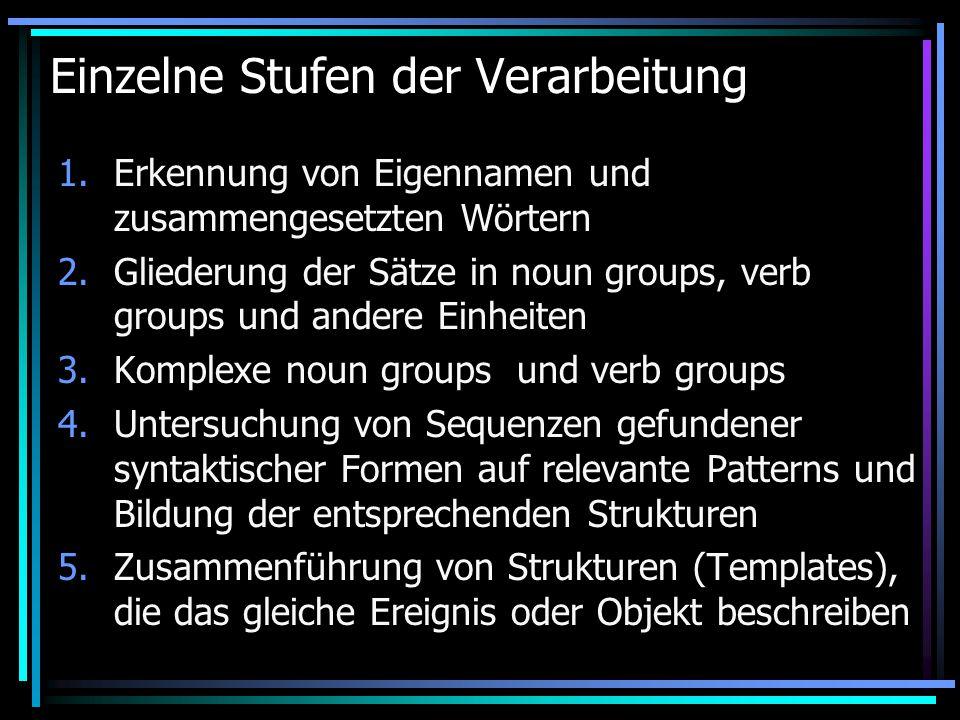 Einzelne Stufen der Verarbeitung 1.Erkennung von Eigennamen und zusammengesetzten Wörtern 2.Gliederung der Sätze in noun groups, verb groups und andere Einheiten 3.Komplexe noun groups und verb groups 4.Untersuchung von Sequenzen gefundener syntaktischer Formen auf relevante Patterns und Bildung der entsprechenden Strukturen 5.Zusammenführung von Strukturen (Templates), die das gleiche Ereignis oder Objekt beschreiben