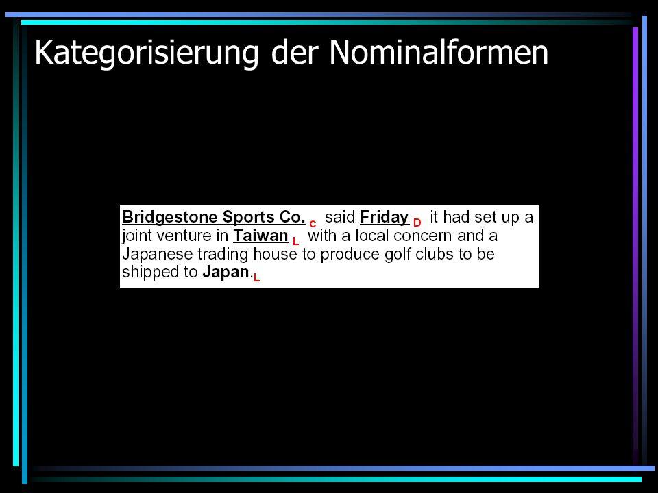 Kategorisierung der Nominalformen