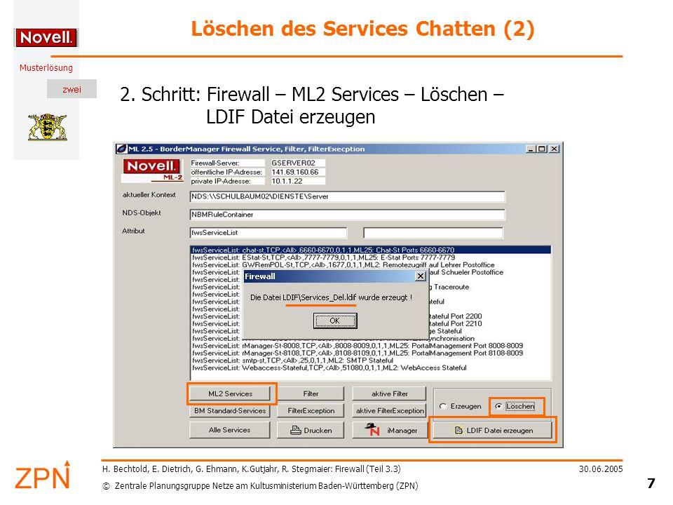 © Zentrale Planungsgruppe Netze am Kultusministerium Baden-Württemberg (ZPN) Musterlösung 30.06.2005 8 H.