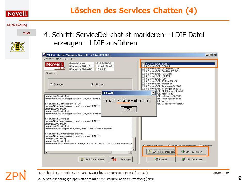 © Zentrale Planungsgruppe Netze am Kultusministerium Baden-Württemberg (ZPN) Musterlösung 30.06.2005 9 H.