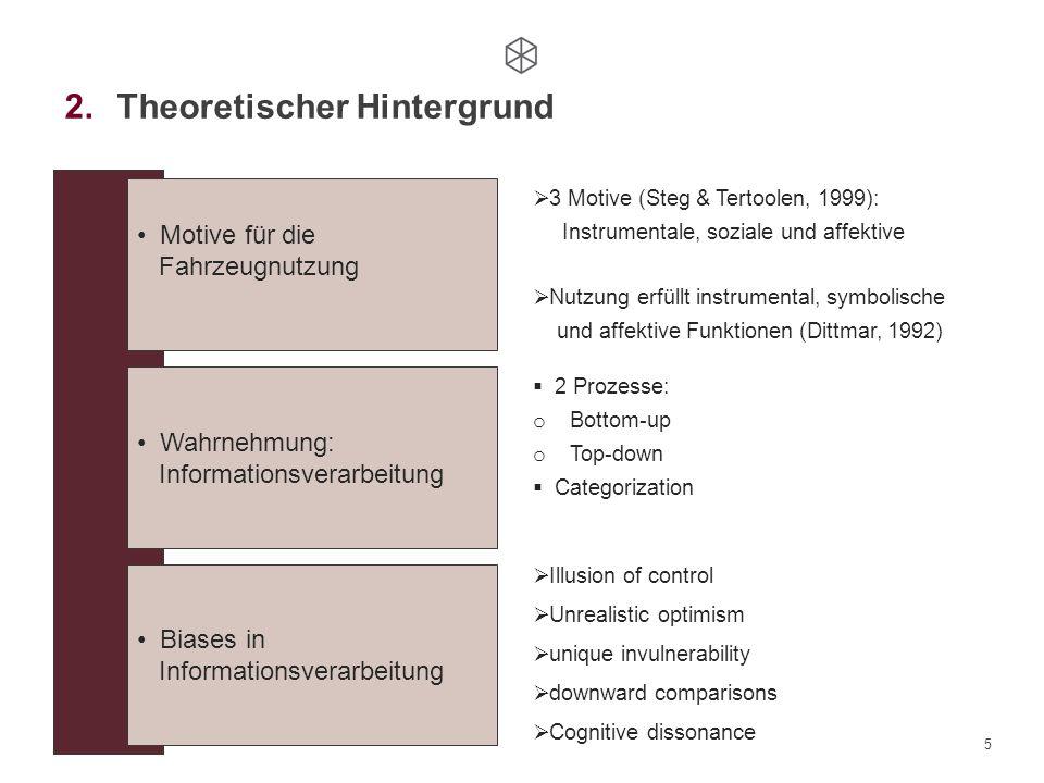 5 Motive für die Fahrzeugnutzung Wahrnehmung: Informationsverarbeitung Biases in Informationsverarbeitung  3 Motive (Steg & Tertoolen, 1999): Instrum