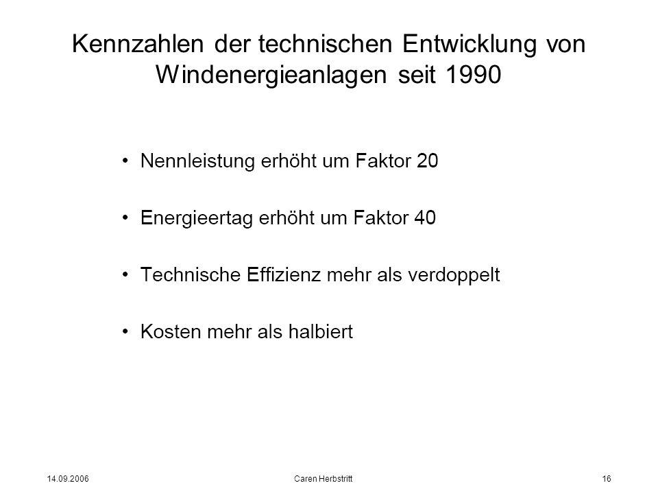14.09.2006 Caren Herbstritt16 Kennzahlen der technischen Entwicklung von Windenergieanlagen seit 1990
