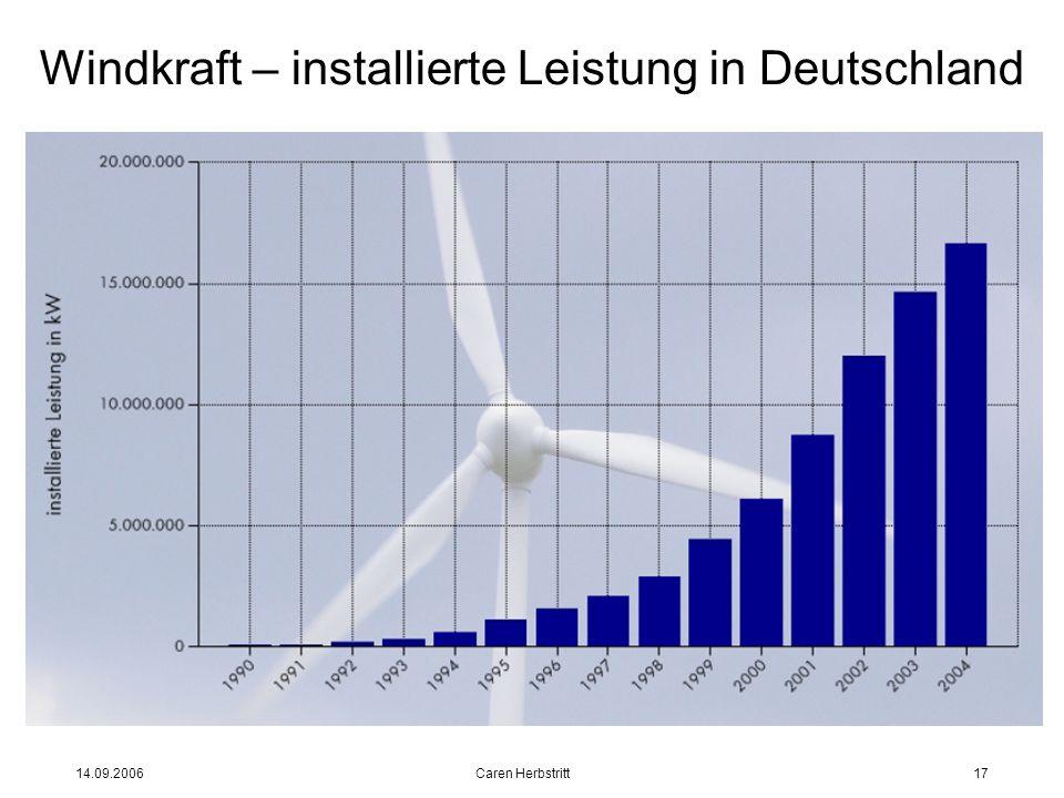 14.09.2006 Caren Herbstritt17 Windkraft – installierte Leistung in Deutschland