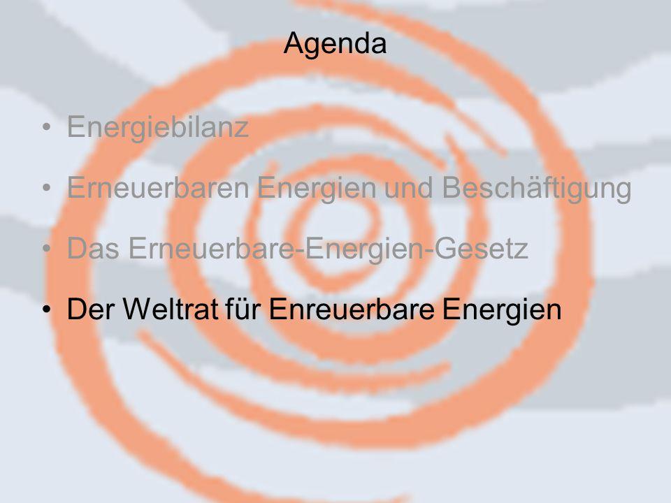 14.09.2006 Caren Herbstritt18 Energiebilanz Erneuerbaren Energien und Beschäftigung Das Erneuerbare-Energien-Gesetz Der Weltrat für Enreuerbare Energien Agenda