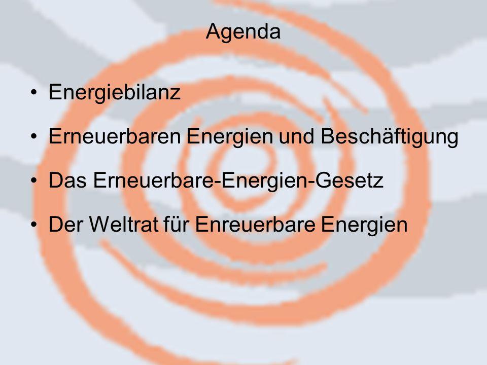 14.09.2006 Caren Herbstritt2 Energiebilanz Erneuerbaren Energien und Beschäftigung Das Erneuerbare-Energien-Gesetz Der Weltrat für Enreuerbare Energien Agenda