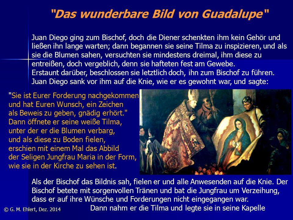 """""""Das wunderbare Bild von Guadalupe"""" © G. M. Ehlert, Dez. 2014 Juan Diego ging zum Bischof, doch die Diener schenkten ihm kein Gehör und ließen ihn lan"""
