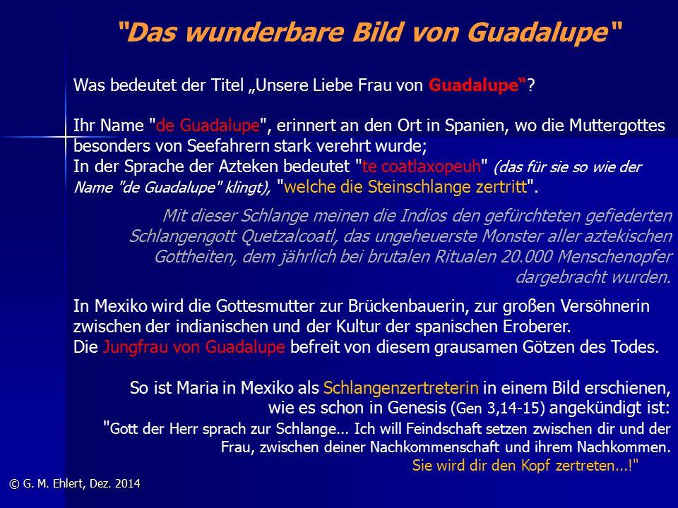 """""""Das wunderbare Bild von Guadalupe"""" © G. M. Ehlert, Dez. 2014 Was bedeutet der Titel """"Unsere Liebe Frau von Guadalupe""""? Ihr Name"""
