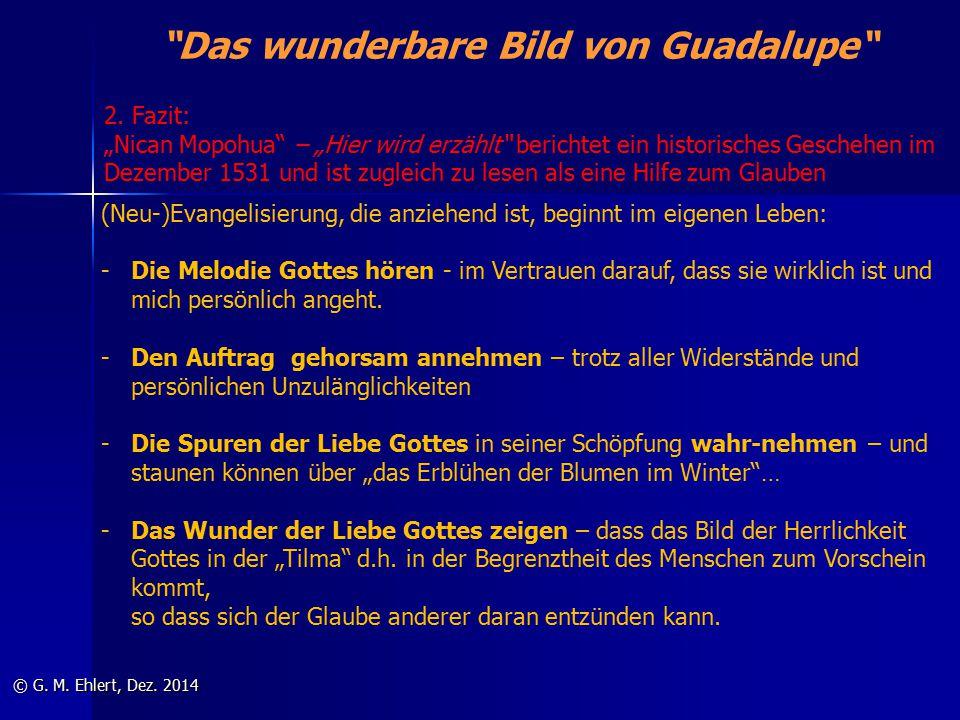 """""""Das wunderbare Bild von Guadalupe"""" © G. M. Ehlert, Dez. 2014 2. Fazit: """"Nican Mopohua"""" – """"Hier wird erzählt"""" berichtet ein historisches Geschehen im"""