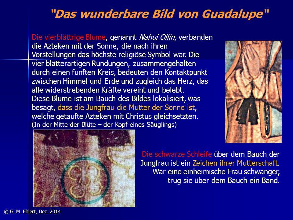 """""""Das wunderbare Bild von Guadalupe"""" © G. M. Ehlert, Dez. 2014 Die vierblättrige Blume, genannt Nahui Ollin, verbanden die Azteken mit der Sonne, die n"""