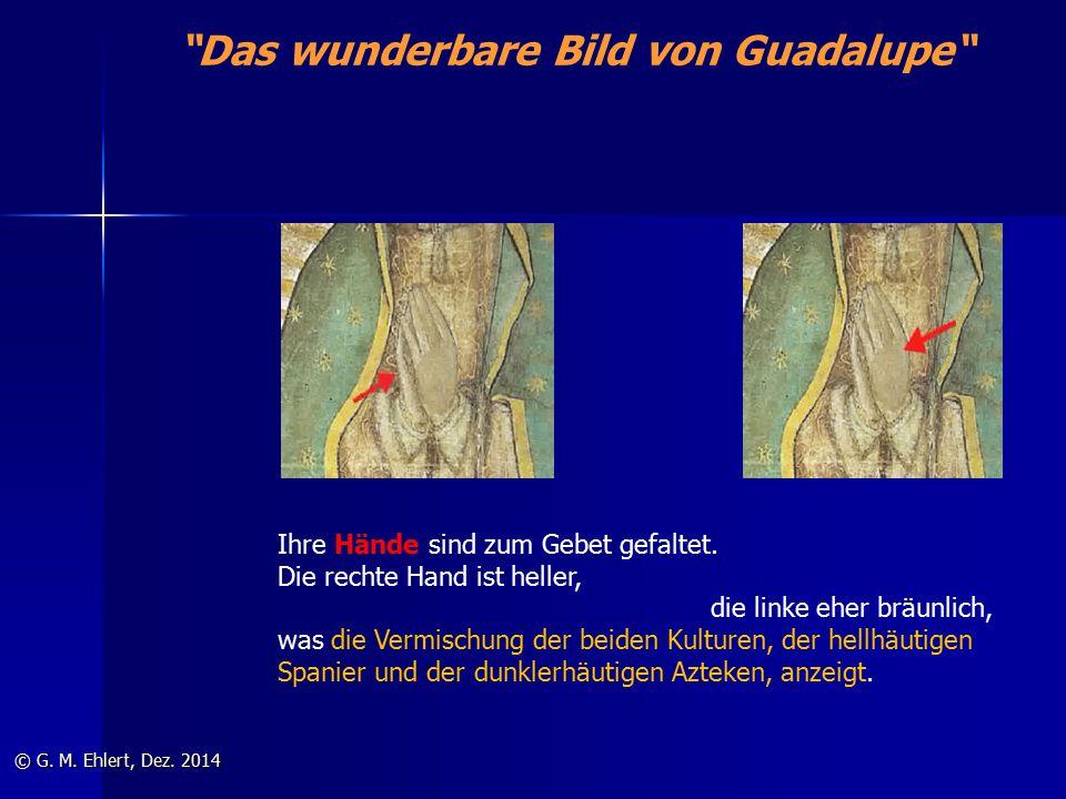 """""""Das wunderbare Bild von Guadalupe"""" © G. M. Ehlert, Dez. 2014 Ihre Hände sind zum Gebet gefaltet. Die rechte Hand ist heller, die linke eher bräunlich"""