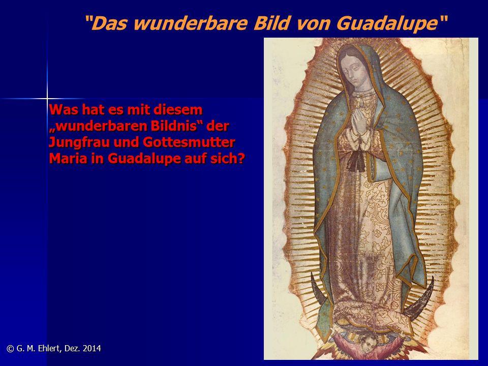 """Das wunderbare Bild von Guadalupe Was hat es mit diesem """"wunderbaren Bildnis der Jungfrau und Gottesmutter Maria in Guadalupe auf sich."""