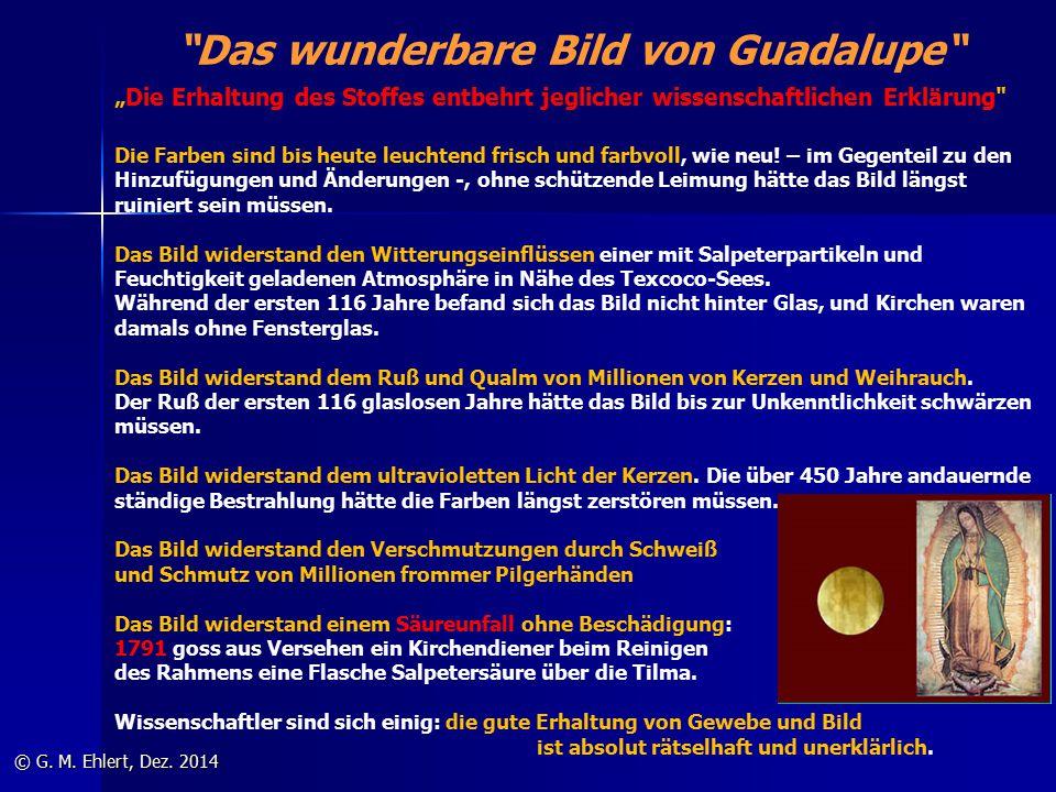 """""""Das wunderbare Bild von Guadalupe"""" © G. M. Ehlert, Dez. 2014 """"Die Erhaltung des Stoffes entbehrt jeglicher wissenschaftlichen Erklärung"""