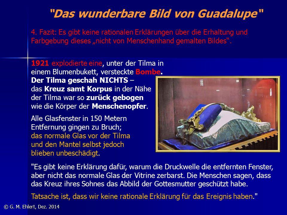 """""""Das wunderbare Bild von Guadalupe"""" © G. M. Ehlert, Dez. 2014 1921 explodierte eine, unter der Tilma in einem Blumenbukett, versteckte Bombe. Der Tilm"""