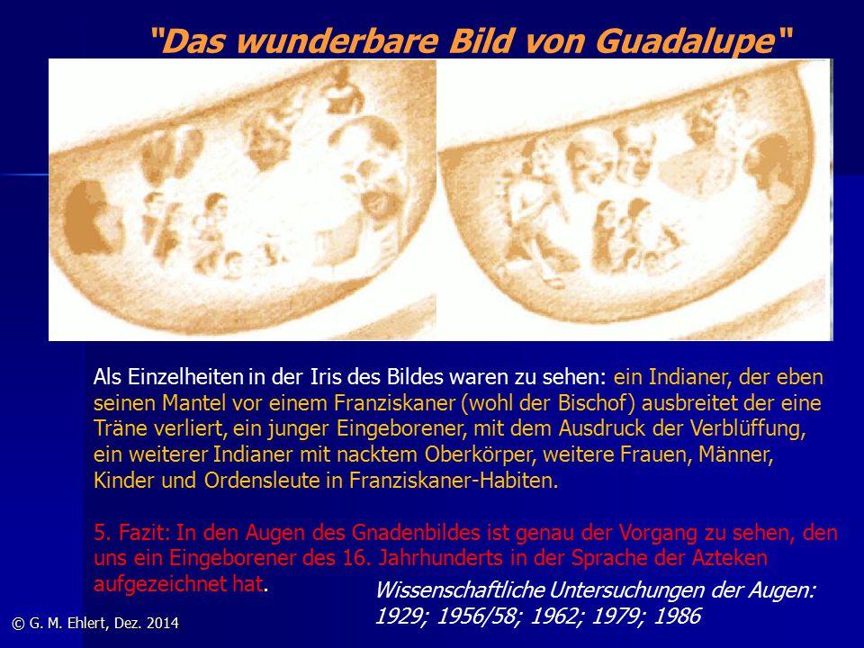 """""""Das wunderbare Bild von Guadalupe"""" © G. M. Ehlert, Dez. 2014 Als Einzelheiten in der Iris des Bildes waren zu sehen: ein Indianer, der eben seinen Ma"""