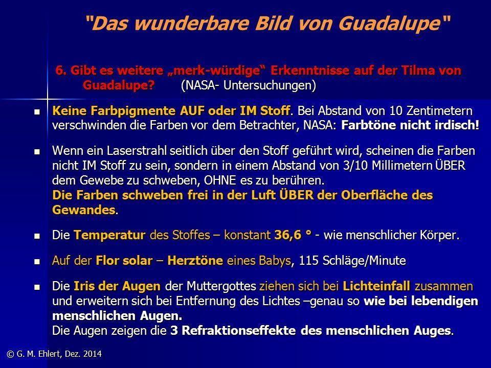"""""""Das wunderbare Bild von Guadalupe"""" 6. Gibt es weitere """"merk-würdige"""" Erkenntnisse auf der Tilma von Guadalupe? (NASA- Untersuchungen) 6. Gibt es weit"""
