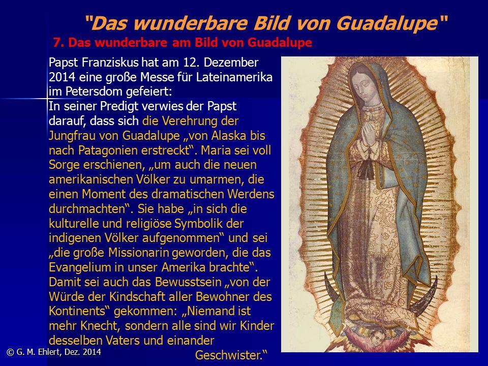 """""""Das wunderbare Bild von Guadalupe"""" © G. M. Ehlert, Dez. 2014 Papst Franziskus hat am 12. Dezember 2014 eine große Messe für Lateinamerika im Petersdo"""