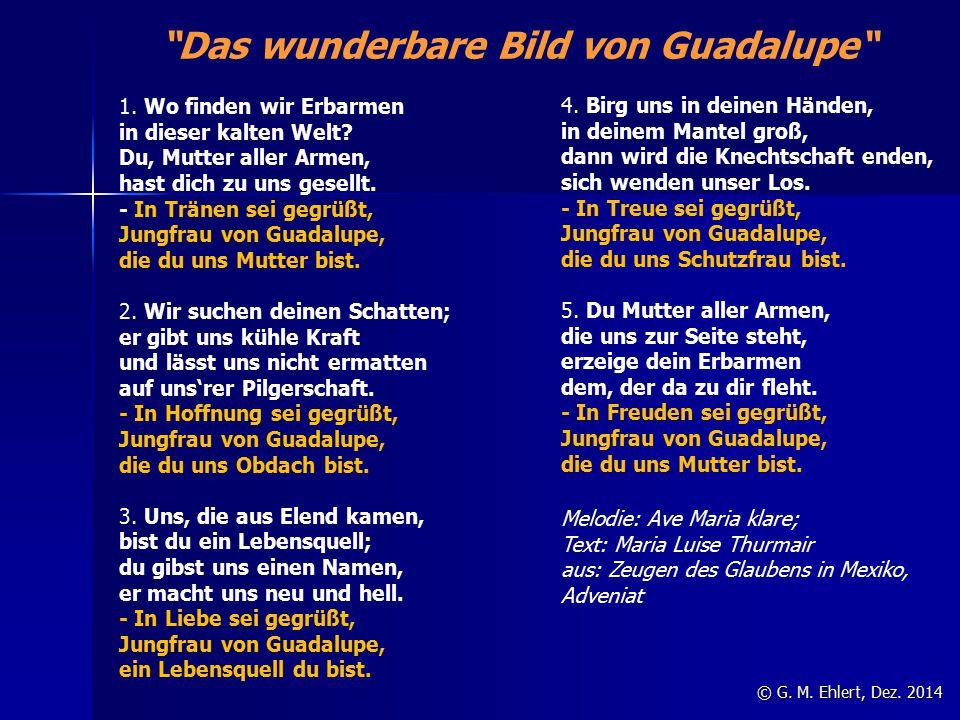 """""""Das wunderbare Bild von Guadalupe"""" © G. M. Ehlert, Dez. 2014 1. Wo finden wir Erbarmen in dieser kalten Welt? Du, Mutter aller Armen, hast dich zu un"""