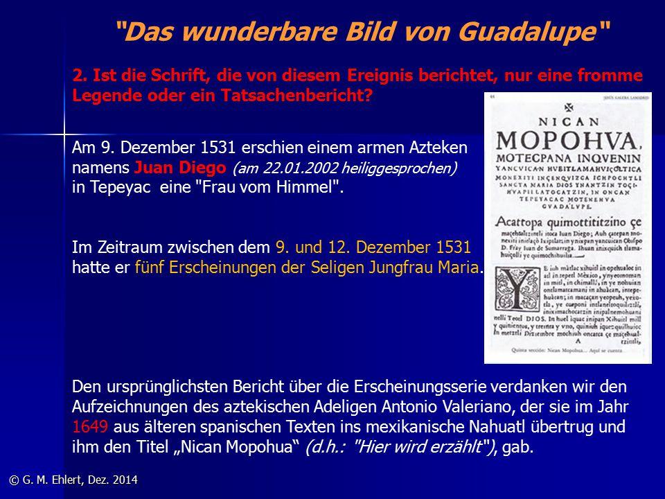"""""""Das wunderbare Bild von Guadalupe"""" © G. M. Ehlert, Dez. 2014 Am 9. Dezember 1531 erschien einem armen Azteken namens Juan Diego (am 22.01.2002 heilig"""