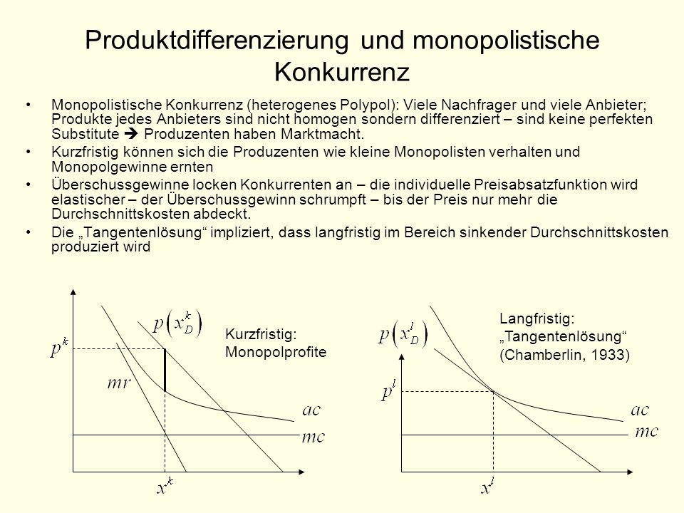 Produktdifferenzierung und monopolistische Konkurrenz Monopolistische Konkurrenz (heterogenes Polypol): Viele Nachfrager und viele Anbieter; Produkte