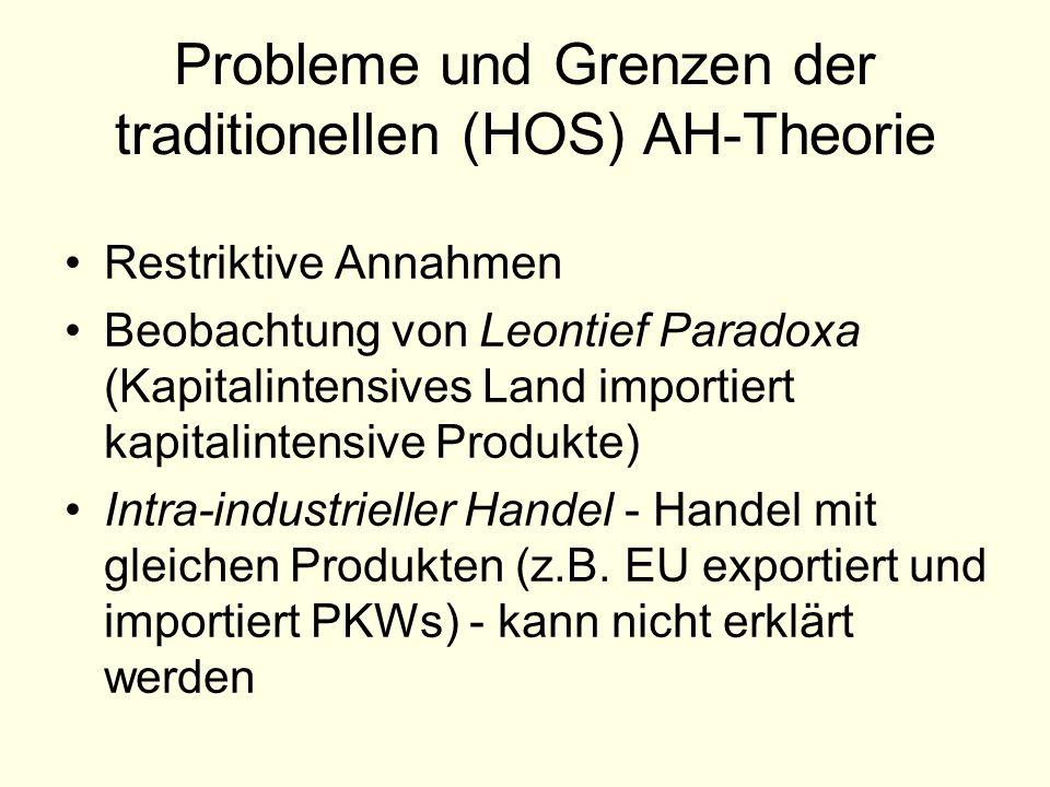 Probleme und Grenzen der traditionellen (HOS) AH-Theorie Restriktive Annahmen Beobachtung von Leontief Paradoxa (Kapitalintensives Land importiert kap