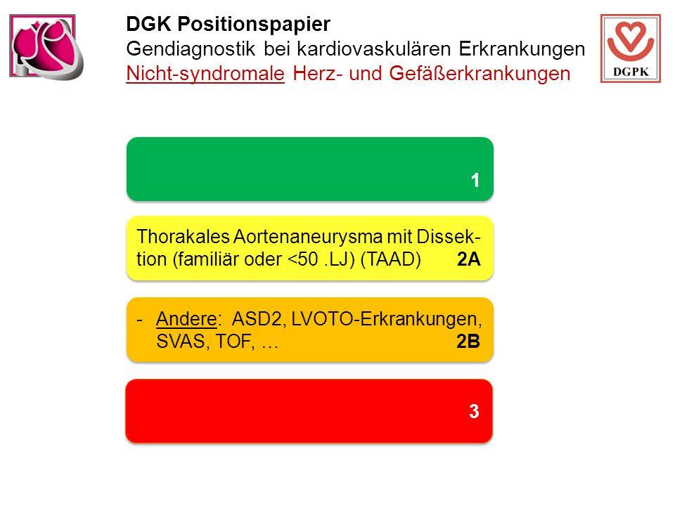 DGK Positionspapier Gendiagnostik bei kardiovaskulären Erkrankungen Nicht-syndromale Herz- und Gefäßerkrankungen 1 1 Thorakales Aortenaneurysma mit Dissek- tion (familiär oder <50.LJ) (TAAD) 2A -Andere: ASD2, LVOTO-Erkrankungen, SVAS, TOF, …2B 3 3