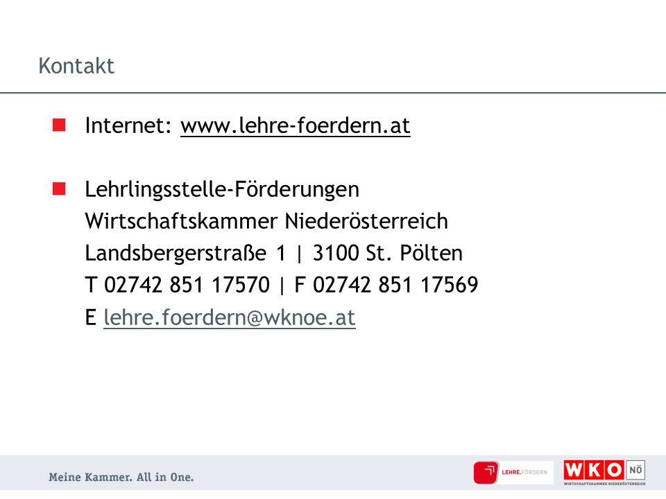 Kontakt Internet: www.lehre-foerdern.at Lehrlingsstelle-Förderungen Wirtschaftskammer Niederösterreich Landsbergerstraße 1 | 3100 St. Pölten T 02742 8