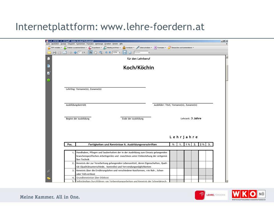 Kontakt Internet: www.lehre-foerdern.at Lehrlingsstelle-Förderungen Wirtschaftskammer Niederösterreich Landsbergerstraße 1 | 3100 St.