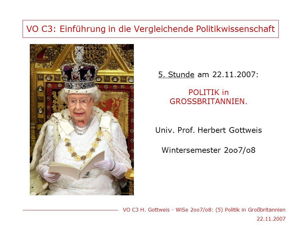 VO C3 H. Gottweis - WiSe 2oo7/o8: (5) Politik in Großbritannien 22.11.2007 VO C3: Einführung in die Vergleichende Politikwissenschaft 5. Stunde am 22.