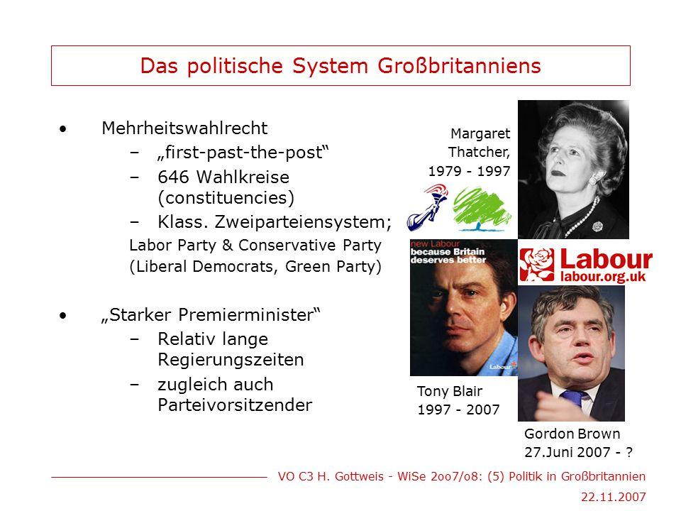 """VO C3 H. Gottweis - WiSe 2oo7/o8: (5) Politik in Großbritannien 22.11.2007 Das politische System Großbritanniens Mehrheitswahlrecht –""""first-past-the-p"""