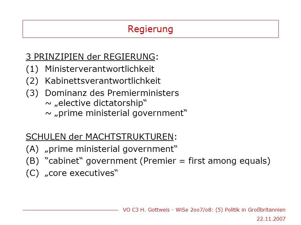 VO C3 H. Gottweis - WiSe 2oo7/o8: (5) Politik in Großbritannien 22.11.2007 Regierung 3 PRINZIPIEN der REGIERUNG: (1)Ministerverantwortlichkeit (2)Kabi