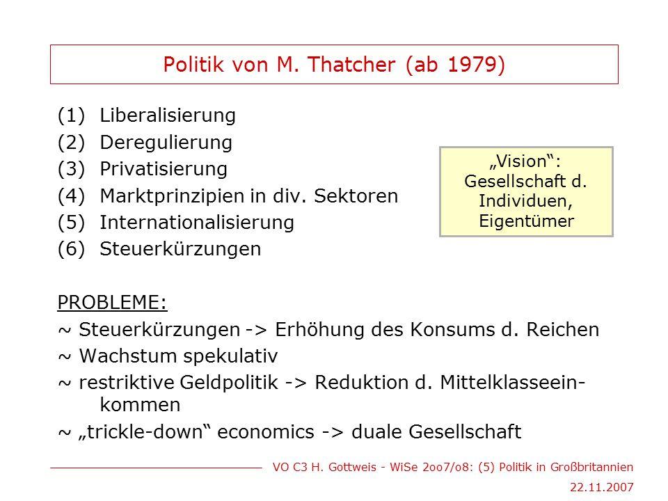 VO C3 H. Gottweis - WiSe 2oo7/o8: (5) Politik in Großbritannien 22.11.2007 Politik von M. Thatcher (ab 1979) (1)Liberalisierung (2)Deregulierung (3)Pr
