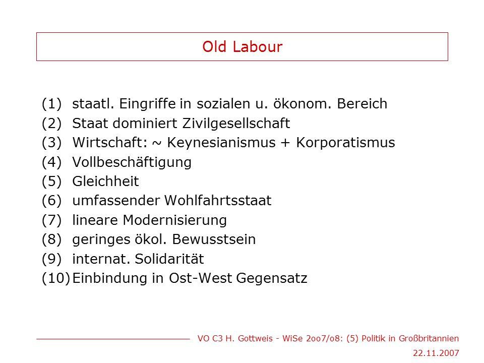 VO C3 H. Gottweis - WiSe 2oo7/o8: (5) Politik in Großbritannien 22.11.2007 Old Labour (1)staatl. Eingriffe in sozialen u. ökonom. Bereich (2)Staat dom
