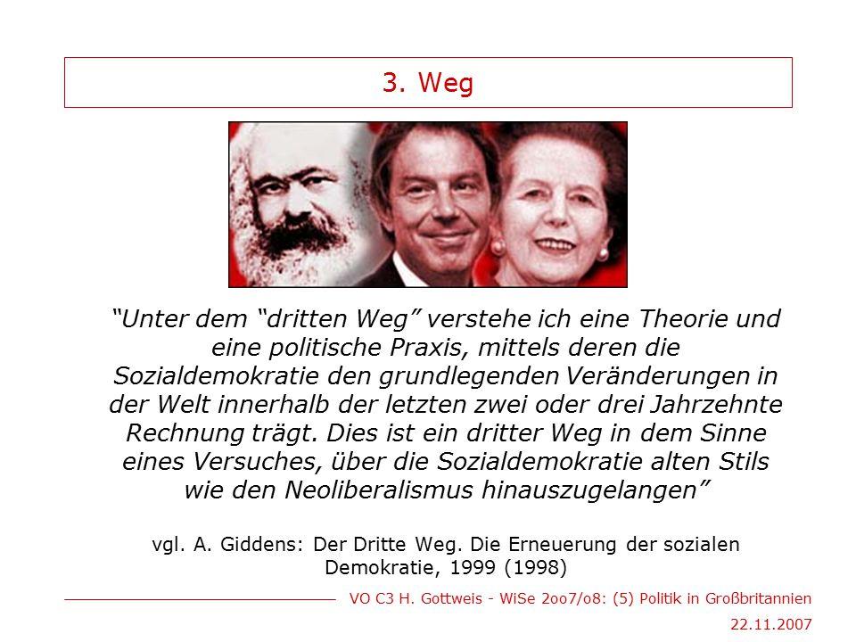 """VO C3 H. Gottweis - WiSe 2oo7/o8: (5) Politik in Großbritannien 22.11.2007 3. Weg """"Unter dem """"dritten Weg"""" verstehe ich eine Theorie und eine politisc"""